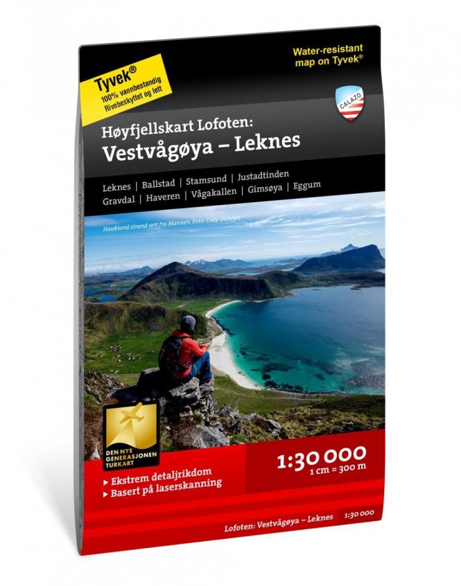 Høyfjellskart Lofoten: Vestvågøya – Leknes 1:30.000